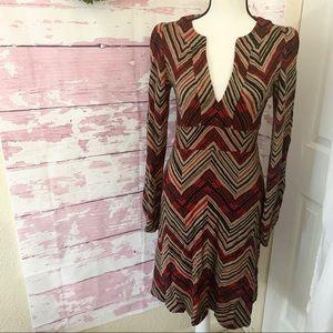 DVF Scoop Red Brown Long Sleeve VNeck Wool Dress 8
